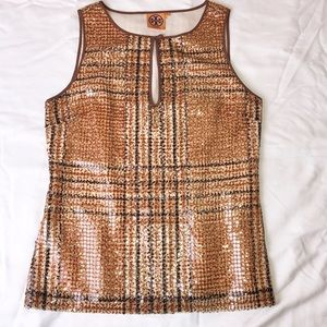Tory Burch Silk Sequin Sleeveless Blouse